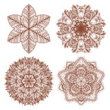Set of four hand drawn mehandi ornaments Royalty Free Stock Images