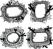 Set of four hand-drawn ornate frames Stock Photography