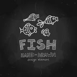 Set of four hand-drawn small fishes with Fish. Label. Black and white grunge design. Vector design element can be used for logotype of aquarium, fishing company Royalty Free Stock Images