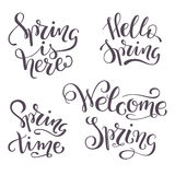 Set of four hand-lettered spring quotes. Vector illustration. Set of four spring quotes Royalty Free Stock Image