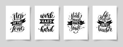 Set of four hand written lettering positive inspirational quote Royalty Free Stock Photography