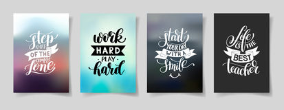 Set of four hand written lettering positive inspirational quote Stock Photos