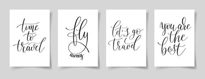 Set of four hand written lettering positive quotes on paper A4 Stock Photos