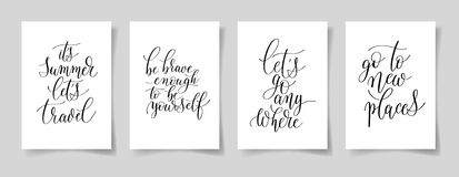 Set of four hand written lettering positive quotes on paper A4 Stock Photography