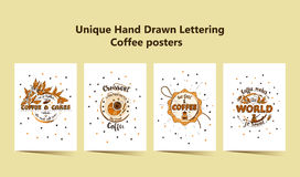 Set of four Handdrawn COFFEE lettering posters with imprints of a coffee mugs. Unique script lettering coffee phrases Stock Photos