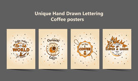 Set of four Handdrawn COFFEE lettering posters. Royalty Free Stock Photography