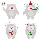 Set of four happy celebrating bears Stock Images