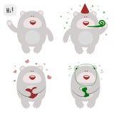 Set of four happy celebrating bears Stock Images