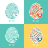 Set of four happy colorful easter backgrounds Stock Photo