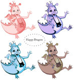 Set of four happy dragons Stock Image