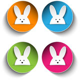 Set of Four Happy Easter Bunny Stickers Royalty Free Stock Photos