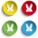 Set of Four Happy Easter Bunny Stickers Royalty Free Stock Images