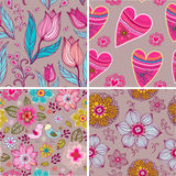 Set of four Happy valentines day backgrounds. Royalty Free Stock Photography