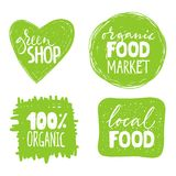 Set of four healthy food labels with lettering. Healthy food stickers Royalty Free Stock Photos