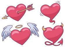 Set of four heart icons. With arrow, angel heart, devil heart and bubble heart stock illustration
