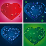 Set of four heart silhouettes with drops Stock Images