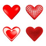 A set of four hearts: glossy, wireframe, glass, fluffy. Four hearts: a glossy heart, a wireframe heart, a glass heart with a small heart inside, a furry heart Royalty Free Stock Photo