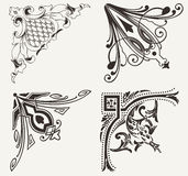 Set Of Four Hogh Ornate Corners. Royalty Free Stock Photography