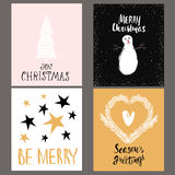 Set of four holidays greeting card with hand drawn elements, shapes and unique handwritten Christmas cards collection. Stock Images