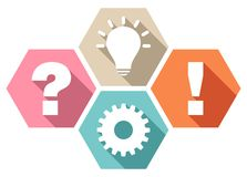 Set Of Four Honeycombs Question Work Idea And Answer Retro Colors stock illustration