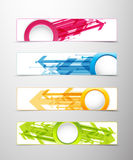 Set of four horizontal banners with arrows. And circle for your text or number - version with white middle circle Royalty Free Stock Photography