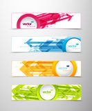 Set of four horizontal banners with arrows. And circle for your text or number - version with white middle circle and sample text Stock Photography