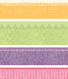 Set of four horizontal textile fabric textures Royalty Free Stock Images