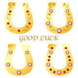 Set of four horseshoes for good luck, vector illustration Stock Image