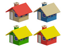 Set of four houses with color changes Stock Photo