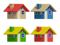 Set of four houses with color changes Royalty Free Stock Images