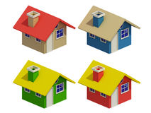 Set of four houses with color changes Stock Images