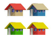 Set of four houses with color changes Stock Photos