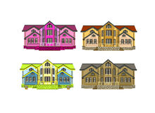 Set of four houses with color changes Royalty Free Stock Photos