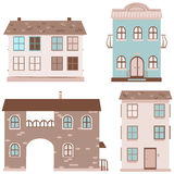Set of four houses Stock Images