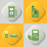 Set of four icons. Auto gas station. Oil can. Auto charging station. Combustible substances. Button. Vector element of graphic design Royalty Free Stock Photo