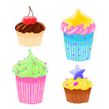 Set of four icons in cartoon style delicious muffins with frosting, chocolate and cherry. Stock Image