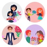 Set of Four Icons with Gifts and Flowers for Girls Royalty Free Stock Photos