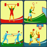A set of four icons a sports theme. Fencing, badminton, basketball, weightlifting Stock Photography