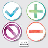 Set of four icons. Web and mobile apps circle watercolor button. Vector illustration Royalty Free Stock Images