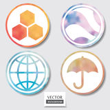 Set of four icons. Web and mobile apps circle watercolor button. Stock Photography