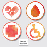 Set of four icons. Web and mobile apps circle watercolor button. Royalty Free Stock Images