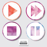 Set of four icons. Web and mobile apps circle watercolor button. Stock Images