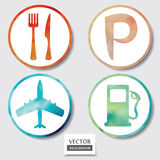 Set of four icons. Web and mobile apps circle watercolor button. Royalty Free Stock Photography