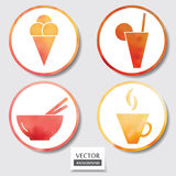 Set of four icons. Web and mobile apps circle watercolor button. Stock Photos