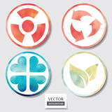 Set of four icons. Web and mobile apps circle watercolor button. Vector illustration Stock Photos