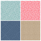 Set of four illusion maze puzzle tile patterns Stock Photo