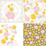 Set of four illustrations with saving pig. Royalty Free Stock Images