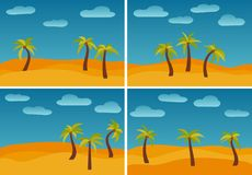 Set of four images with cartoon nature landscapes. With three palms in the desert. Vector illustration Stock Illustration