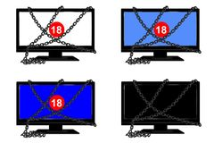 Chained tv - cdr format. Set of four images with chained TV on and off  and number 18 Royalty Free Stock Images