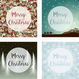 Set of four images for Christmas Stock Image